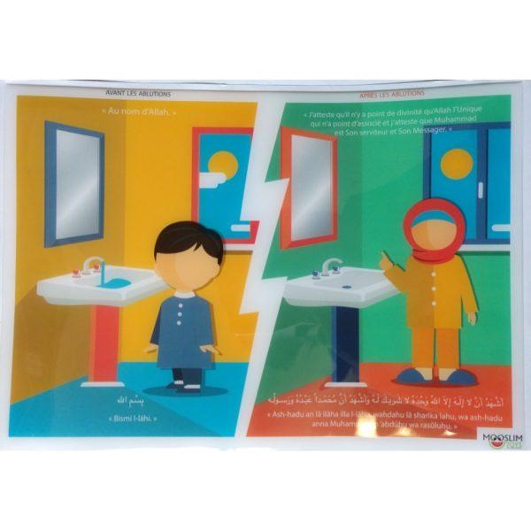 Autocollant (Sticker) - Avant & après les ablutions - Invocations du Quotidien - Mooslim Toys Produits Islamique Chez E-maktaba En France