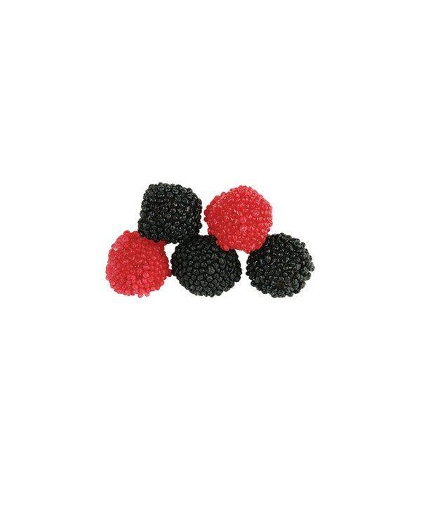 Bonbons Berries - Baies Framboise et Mûre - Fabriqué avec du Vrai Jus de Fruit Bebeto - Halal - Sachet 80gr