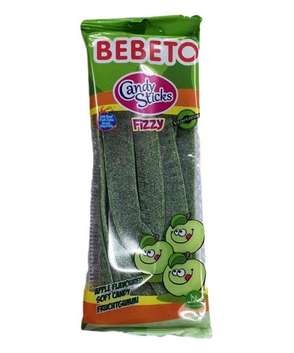 E-makata, Bonbons Candy Stiks - Fizzy Pomme - Végétarien - Fabriqué avec du Vrai Jus de Fruit - Bebeto - Halal - Sachet 180gr