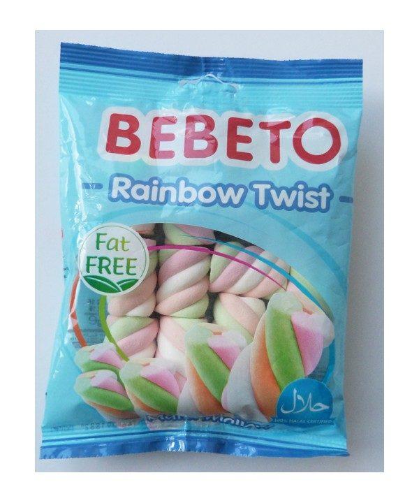 Bonbons Marshmallow - Rainbaw Twist - Sans Gras - Bebeto - Halal - Sachet 60gr, E-maktaba bonbon Halal