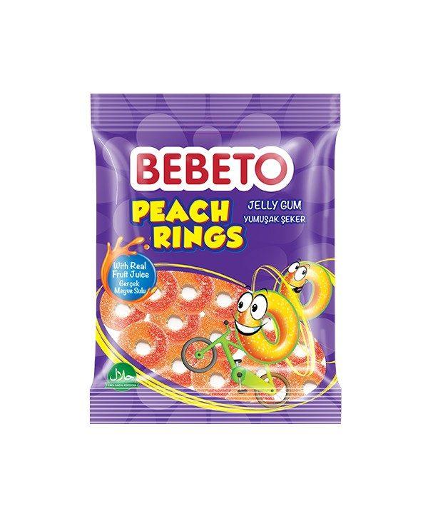 Bonbons Peach Rings - Anneaux de Pèche - Fabriqué avec du Vrai Jus de Fruit - Bebeto - Halal - Sachet 80gr, E-maktaba