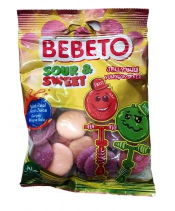 Photo Bonbons Sour & Sweet – Acide et Doux – Fabriqué avec du Vrai Jus de Fruit – Bebeto – Halal – Sachet 80gr - Bebeto