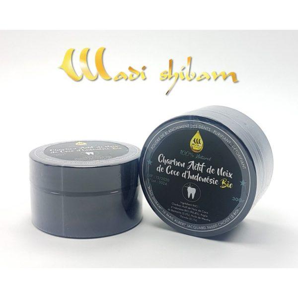 Charbon Actif de Coco BIO - 30g - Wadi Shibam, produits naturels e-maktaba.fr