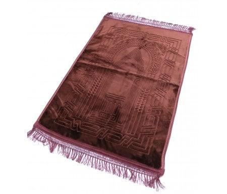 Photo Grand tapis épais antidérapant avec motif Arabesque – Marron -
