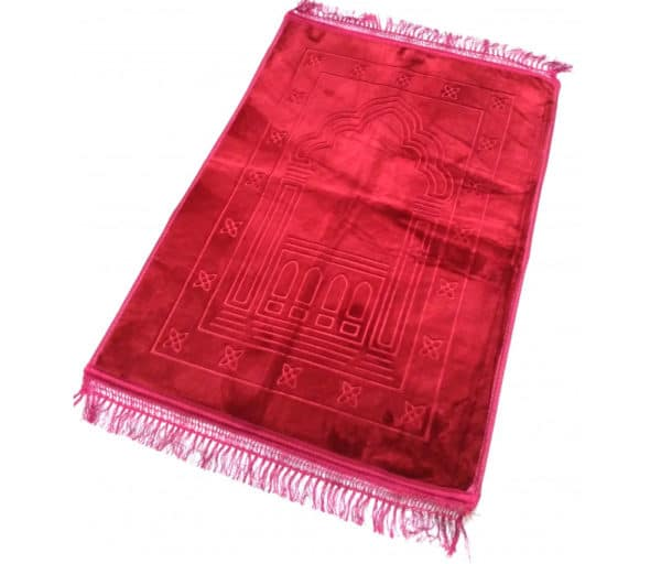 Photo Grand tapis épais antidérapant avec motif Arabesque – Rouge -