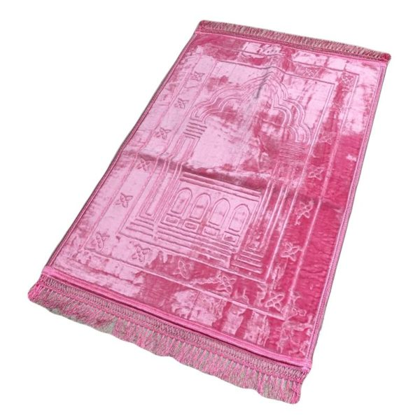 Photo Grand Tapis de Prière – Rose – Motif Mirhab – Molletonné, Épais et Très Doux – Confortable et Anti-Dérapant -